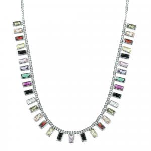 Lant argint incrustat cu zirconiu multicolor