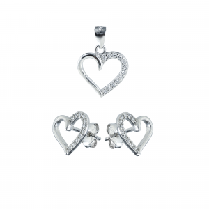 Set argint zirconiu inima