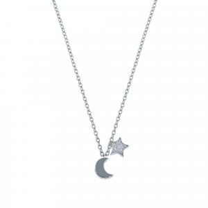 Lant argint zirconiu moon & star