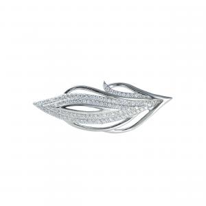 Brosa argint zirconiu leaf