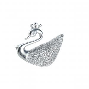 Brosa argint zirconiu swan