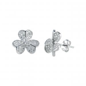 Cercei argint zirconiu fleur