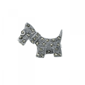 Brosa argint marcasite dog