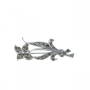Brosa argint marcasite fleur