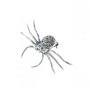 Brosa argint marcasite spider