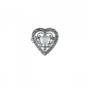Brosa argint marcasite heart