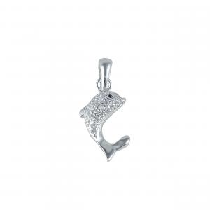 Pandant argint zirconiu dolphin
