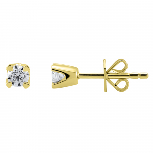 Cercei aur 18K cu diamant 0.10 kt