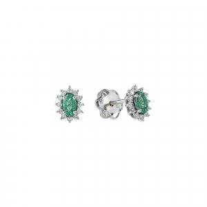 Cercei aur 18K cu diamante si smarald 0.16 F-G SI SM 0.41