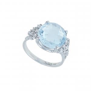 Inel aur 18K cu diamante si topaz albastru 0.4 G SI