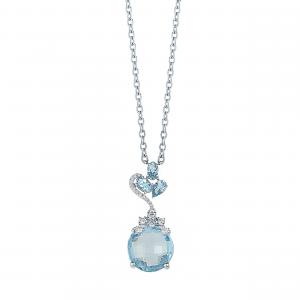 Lant aur 18K cu diamante si topaz albastru 0.22 G SI BT 7.49
