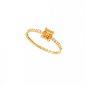 Inel aur 18K cu diamante si citrin 0.07 G VS2 CI 0.39