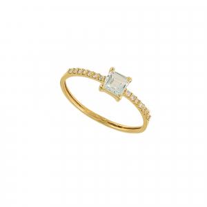 Inel aur 18K cu diamante si aquamarin 0.07 G VS2 AQ 0.39