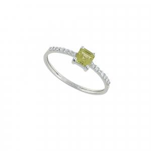 Inel aur 18K cu diamante si peridot 0.07 G VS2 PE 0.39