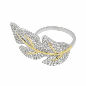 Inel argint frunza pietre zirconiu - 624058