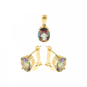 Set aur 14k zirconiu colorat elegant