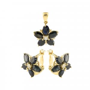 Set aur 14k zirconiu elegant floare