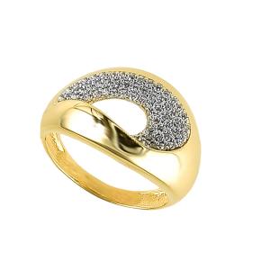 Inel aur 14k zirconiu geometric