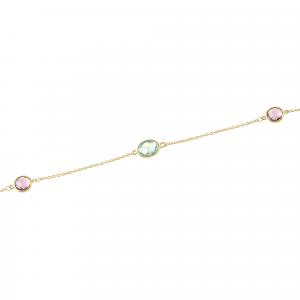 Bratara aur 14k zirconiu colorat elegant