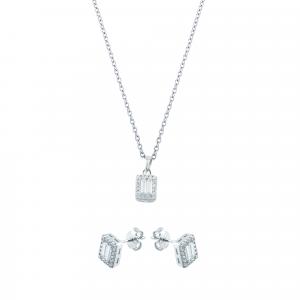 Set aur 14K alb zirconiu elegant