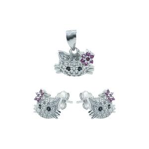 Set argint zirconiu hello kitty