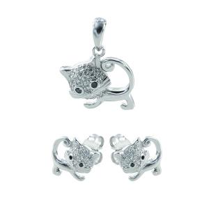 Set argint zirconiu pisica