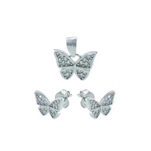 Set argint zirconiu fluture