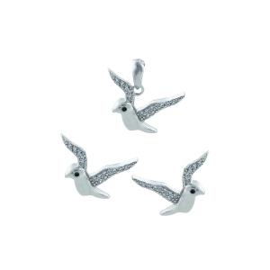 Set argint zirconiu pasare