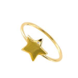 Inel aur 14k zirconiu  stea