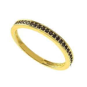 Inel aur 14k zirconiu negru elegant