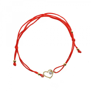 Bratara aur 14k zirconiu snur reglabil inima