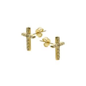 Cercei aur 14K cruce