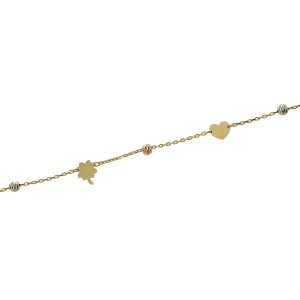 Bratara picior aur 14K accesorii mixte