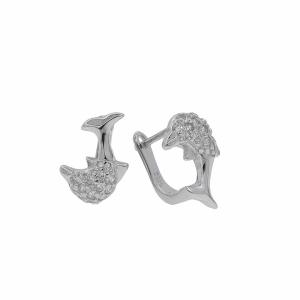 Cercei argint pietre zirconiu delfin - 635887