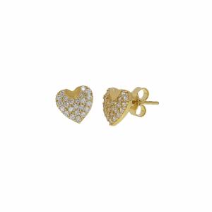 Cercei aur 14k inima pietre zirconiu