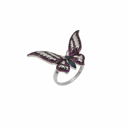 Inel argint fluture pietre zirconiu - 640065