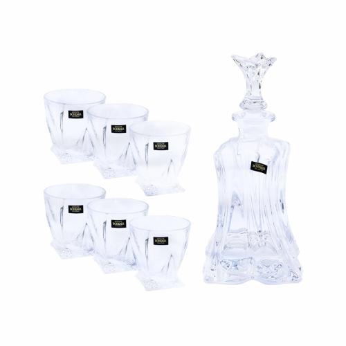 Set 6 pahare whisky + sticla servire Cristal Bohemia  - 99999/9/99E50/820