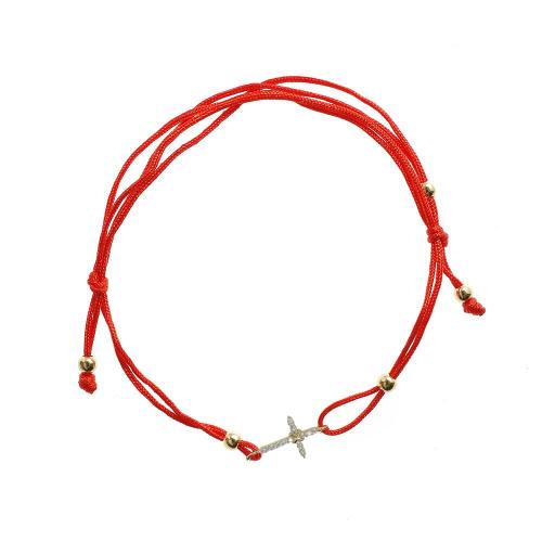 Bratara aur 14K Kocak galben zirconiu ata rosie cruce - 2901522008902