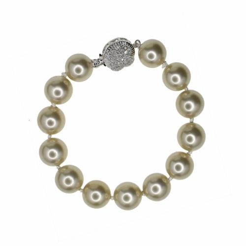 Set lant si bratara perle naturale din scoica gri - 400000000207987*
