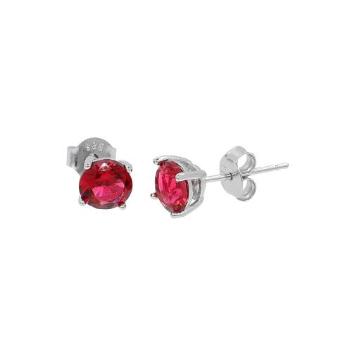 Cercei argint zirconiu classico rosu - 5000000655595