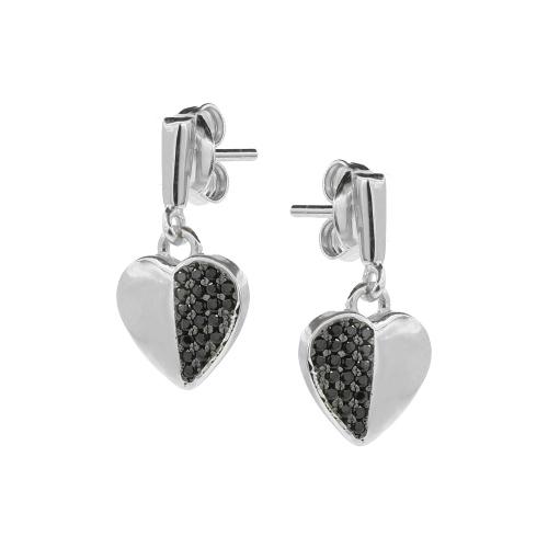 Cercei argint zirconiu sparkle hearts - 5000000668649