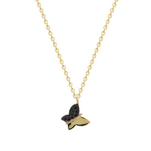 Lant aur 14k Kocak galben zirconiu negru  fluture - 2905542014004