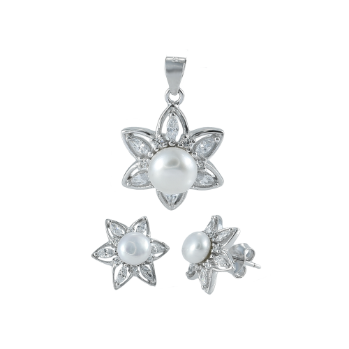 Set argint zirconiu & perla flora - 5000000669554