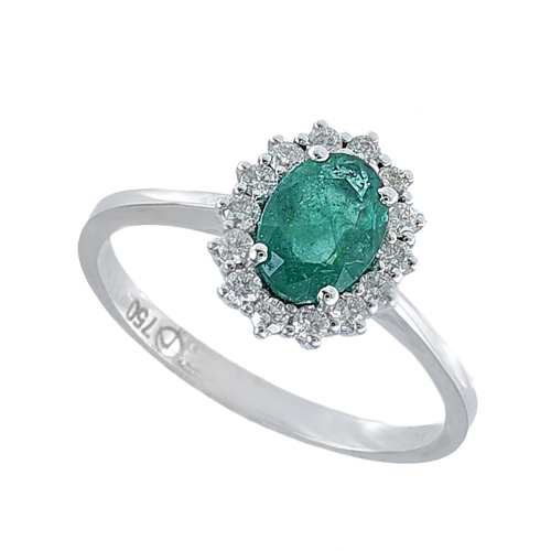 Inel aur 18k incrustat cu diamante si smarald - 6012000006078
