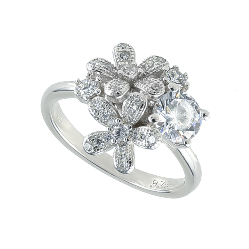 Inel argint zirconiu fleur - 5000000684397