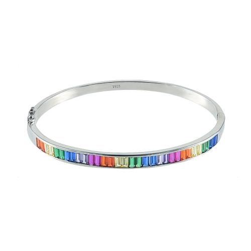 Bratara prindere fixa argint zirconiu rainbow - 5000000683802