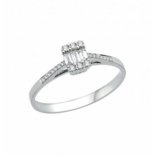 Inel logodna aur 18k incrustat cu diamante 0.18 G SI - 6012000055465