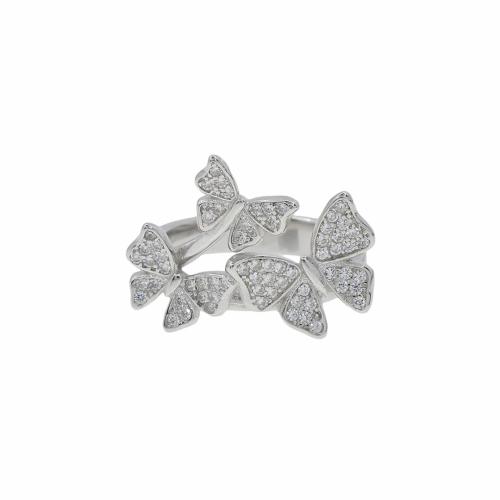 Inel argint fluture pietre zirconiu - 607167