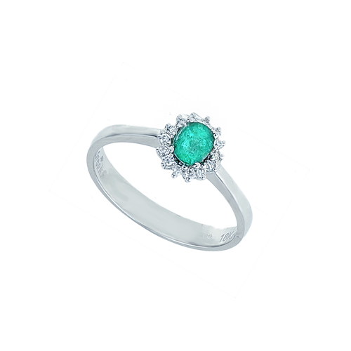 Inel aur 18K cu diamante si smarald 0.09 F-G SI SM 0.3 - 6012000054963