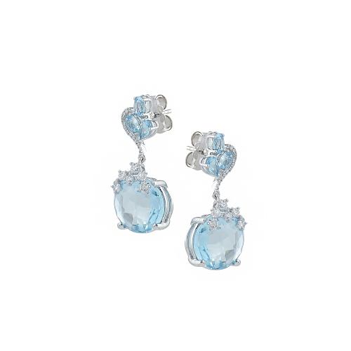 Cercei aur 18K cu diamante si topaz albastru 0.46 G SI BT 14.83  - 6011000028455